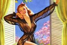 """Pin Up Artist Art Frahm / Art Frahm (1907–1981) was an American painter of campy pin-up girls and advertising. He's best known for his """"ladies in distress"""" pictures involving beautiful young women whose panties mysteriously fall to the ground in a variety of public situations, causing maximum embarrassment to his pin-up girls. The falling-panties paintings were imitated by other pin-up artists such as Jay Scott Pike and Al Brulé."""