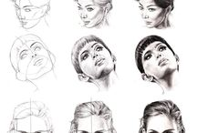 Drawing ~ face and head / Some inspiration but mostly tutorials. Both videos and step-by-steps'.