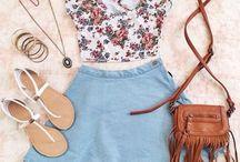 light blue skirt outfit