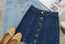 OUTFITS_BUTTON DENIM SKIRTS