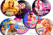 Retro Barbie Badges & Magnets / Brand new pin badges and fridge magnets, lovingly handmade on a per order basis. They measures 45mm across with either a safety pin or strong magnet on the back.