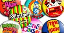 Retro Sweets and Snacks Badges & Magnets / Brand new pin badges and fridge magnets, lovingly handmade on a per order basis. They measures 45mm across with either a safety pin or strong magnet on the back.