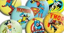 Retro Superhero Badges & Magnets / Brand new pin badges and fridge magnets, lovingly handmade on a per order basis. They measures 45mm across with either a safety pin or strong magnet on the back.