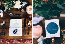 cosmic wedding inspiration / Cosmic + celestial wedding inspiration including geodes, moon, stars, calligraphy, twinkly lights, blue/silver colour palette.,