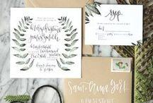 wedding invites + paper design / Unique, bohemian, woodsy, wedding invitation inspiration with earthy tones + calligraphy.