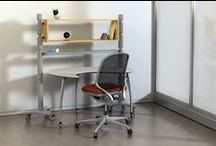 WIM (Work In Motion) / A completely mobile office/table/divider solution that quickly reconfigures without using tools.