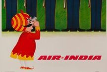 Travel Posters: Air-India / A collection of vintage airline travel posters advertising the airlines of India