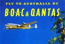 Travel Posters: Qantas & Ansett / A collection of vintage airline travel posters advertising the airlines of Australia