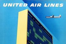 Travel Posters: United Air Lines / A collection of vintage airline travel posters advertising United Air Lines