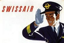 Travel Posters: Swissair / A collection of vintage airline travel posters advertising Swissair