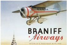 Travel Posters: Braniff Airways / A collection of vintage airline travel posters advertising Braniff International Airways