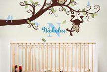 Nursery ideas / Nursery ideas, baby boy, baby girl, bedroom, cot, wallpaper, wall stickers