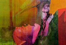 Fugleportretter / Malerier. Akryl og tempera, oksydert messing og kobber, aluminium, interferens farger. Ca 85x62 cm