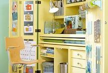 Armoire Makeover / Turn your old dated armoire into a functional work space.