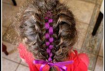 Braided hair with ribbon