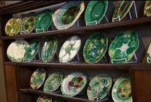 "MAJOLICA aka  ""Don't touch the leaf plate"". / For me, awareness of majolica, came from my grandmother's anxious warnings to my mother, and then, me, ""Don't touch the leaf plate"".  Even then, the leaf plate was ""old"" and revered because her great grandmother had ""brought it over"".  Only God knows if it was the only one.  But, religiously, that plate was passed down.  Miraculously, at the cosmic moment, it was mine.  What had annoyed, offended and even alienated me in my early life became an obsession.   / by Lyndsey Higa"