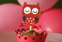 Faith's First Birthday / Owl Be Your Valentine. Red, pink, and white color scheme. Owls & Hearts for Valentine's birthday theme.