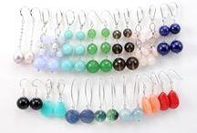 Boucles d'oreilles / Boucles d'oreilles en argent 925 avec perles en gemmes