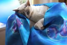 CATS and LUXURIOUS SILK / Hand Painted Pure Silk Scarves