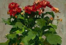 FLOWERS,PLANTS,FOLAGE IN PAINT
