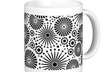 Black & White Floral Mugs from Zazzle