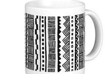 Black and white geometric patterned mugs / Circles, dots, squares, stripes tiles..Modern and classy monochrome patterns