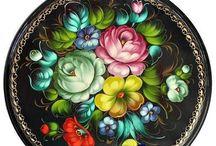porcelain painted(роспись подносов)