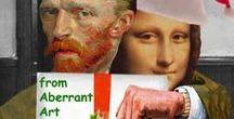 Aberrant art (Barry Kite ; voir aussi Mona Lisa surréalisme..) / Art surréaliste (aberrant art) utilisant personnages ou auteurs par dérision