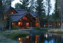 LOG CABIN FEVER / Big cozy blanket in front of a Wood burning Fireplace / by Michelle ☀ Guth