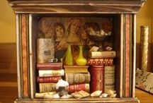 Italian craftsmanship / traditional italian artisan work such as fine bookbinding products, miniature libraries and handmade miniature theaters with tiny marionettes