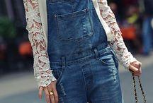 Salopette en jean Inspiration / Inspirations de tenues et associations avec la salopette en jean