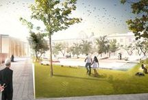 OPOLE / The aim of the competition is to revitalise the downtown by giving a new outlook to these small plazas. Through the sun diagram study, the areas with the optimal sunlight have been identified so as to concentrate all the public activities of the plazas.