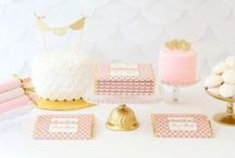 Blush Pink & Gold Sweets Table / Blush Pink and Gold Sweets Table featuring our Elegant Scallop Personalized Candy Bar Wrappers. Read about it and shop these wrappers at www.sweetpapershop.com
