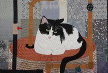 Art quilt -cats