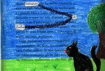 """La gabbianella e il gatto / Laboratorio di Caviardage. Lavori realizzati dopo la lettura del romanzo di Luis Sepulveda """"La gabbianella ed il gatto che le insegnò a volare""""."""