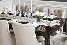 Interior: Dinner Rooms / Pretty and elegant Ideas for dinner rooms. Love the combination of dark wooden dinner tables and cream coloured chairs   Schöne und elegante Ideen für Esszimmer. Ich liebe die Kombination von dunklen Esstischen und cremefarbenen Stühlen