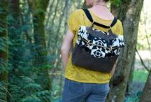 made with radiant home studio patterns / bags made from radiant home studio sewing patterns - Retro Rucksack - Water Bottle Tote - Coastal Tote - North Pond Notebook Cover - Mom's Minivan Organizer.