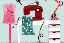 Näh-Illustrationen / Illustrierte Nähmaschinen und Nähzubehör