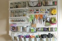 """Craft Room Ideas / Unfortunately my craft room is currently my """"storage room"""", piled with all the stuff I don't want to get rid of, but that doesn't have a real home... But one of these days, I WILL fix it up and this board has some great ideas for when that happens!"""