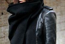 Style / Mostly black and grey, structured, edgy, lots of leather and some chunky knits