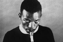 Ornette Coleman (1930 - 2015) / Ornette Coleman was more voluble and theoretical than John Coltrane, the other great pathbreaker of late 50's early 60's jazz, and became known as a kind of musician-philosopher, with interests much wider than jazz alone; he was seen as a native avant-gardist and symbolized the American independent will as effectively as any artist of the last century. / by Highland Park Public Library A-V Department