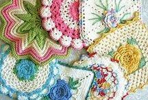 Handmade Kitchen Linens / fabric and fiber hot pad goodness // tea towels // place mats // napkins