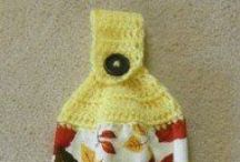 Crocheted Towel Toppers / ideas for making crocheted hanging hand towels for the kitchen