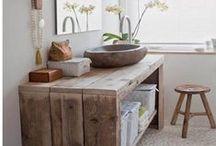 Meubles salle de bain / Meubles salle de bain Pays Bois en ancien bois d'échafaudage