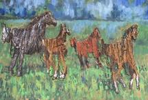 konie / horses / Konie na drewnie, fornirze, korze i wszystkim co natura dała. / Horses on wood, veneer, bark and everything what natur gave.