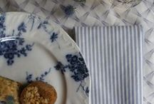Organic, ethical home textiles - thaksin blue / our recent bennettandbates photohoot, laying the table with thaksin range in blue - napkins, placemats, table runners, cushions.....