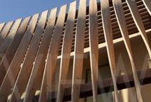 school + wooden facade