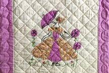 Colonial Ladies / Vintage appliqué and embroidered ladies