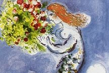 Artist: Chagall / Marc Chagall (1887–1985) Russian-French & preemenent Jewish artist used several major styles in paintings, book illustrations, stained glass, ceramic, tapestries & more. Comments are from prior pinners, not me. / by Laurie Mullikin