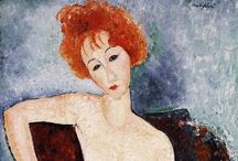 Artist: Modigliani / Amedeo Modigliani (1884–1920) Jewish Italian painter & sculptor, known for modern style portraits & nudes with elongated faces & figures, won acceptance after his death at 35 of meningitis. Comments are from prior pinners. / by Laurie Mullikin